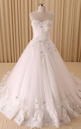 A-Line Sweetheart Bell Pleats Beading Appliques Court Train Zipper Lace-Up Back Chiffon Tulle Lace Sequins Organza Satin Taffeta Dress
