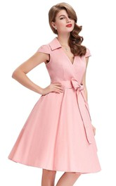 Knee-Length V-neck Cap Sleeved A-line Satin Dress