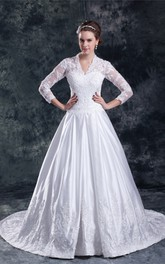 Fabulous Satin a Line Sleeve V Neck Embellished Wedding Dresses