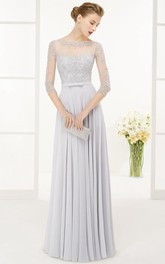 A-Line Beaded 3-4-Sleeve Floor-Length Jewel-Neck Chiffon Prom Dress