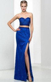 Sweetheart Two Pieces Beading Split-Front Lace Prom Dress