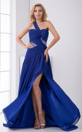 Graceful One Shoulder Beaded a Line Chiffon Special Occasion Dresses