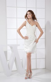 One Shoulder Sleeveless Short-Length Ruched Dress With Side Keyhole