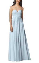 Notch Ruched Long Chiffon Bridesmaid Dress