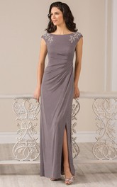 Cap-Sleeved Long Front Silted Mother Of The Bride Dress With Crystals And Draping