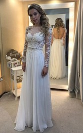 A-line Bateau Floor-length Long Sleeves Lace Chiffon Wedding Dresses