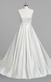 V-Neck Sleeveless A-Line Satin Wedding Dress With Beading