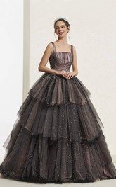 Luxury Square Neckline Vintage Beaded Sleeveless Ballgown With Lace-up And Ruffled Tiers