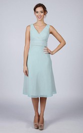 V Back V Back A-line Chiffon Short Dress Mint Blue