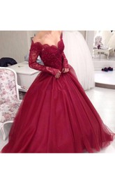 Ball Gown Lace Tulle Off-the-shoulder Long Sleeve Zipper Low-V Back Dress