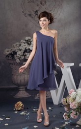 One-Shoulder Knee-Length Chiffon Draping and Dress With Beading