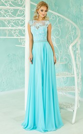 Mermaid Sweep Jewel Sleeveless Satin Chiffon Appliques Beading Keyhole Dress