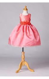 Scoop Neck Sleeveless Tea Length Pleated Organza Dress With Flower Sash