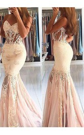 Mermaid Trumpet Lace Tulle Sweetheart Sleeveless Zipper Dress