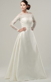 A-Line High Neck Long-Sleeve Satin Wedding Dress With Illusion