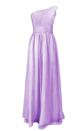 Elegant One-shoulder Chiffon A-line Dress With Ruched Band
