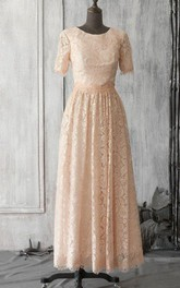 Scoop Neck Short Sleeve Allover Lace A-line Pleated Long Dress With Keyhole