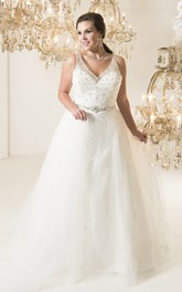 Ball Gown Floor-Length V-Neck Sleeveless Tulle Court Train Deep-V Back Beading Dress