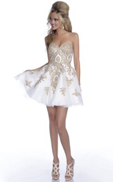 Metallic Short A-Line Sweetheart Prom Dress With Crystal Detailing
