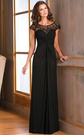 Cap-Sleeved Long Ruched Mother Of The Bride Dress With Illusion Lace Neckline