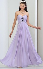 A-Line Sweetheart Pleats Beaded Long Prom Dress