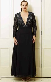 A-Line V-Neck Long-Sleeve Ankle-Length Lace&Chiffon Plus Size Prom Dress