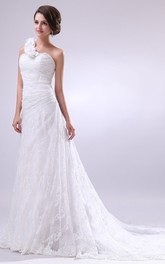 Strapless Ruched Dress With Single Floral Strap and Tulle Overlay