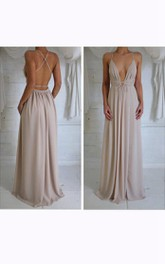 Sleeveless V-neck Long Chiffon Dress with Pleats