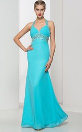 Beading Pleats Criss-Cross Straps Prom Dress