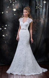 Mermaid Long V-Neck Cap-Sleeve Lace-Up Lace Dress With Appliques And Beading