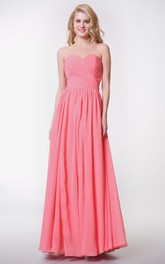 Sleeveless Ruched Long Chiffon Convertible Dress With Pleats