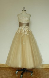 Tulle A-Line Strapless Dress With Lace Bodice and Cinched Waistband