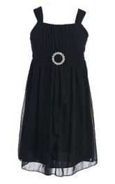 Sleeveless Square-neck Dress With Pleats