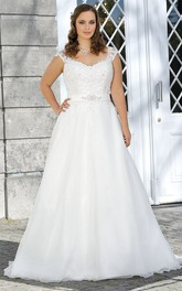 A-Line Floor-Length V-Neck Cap Satin Sweep Train Appliques Dress