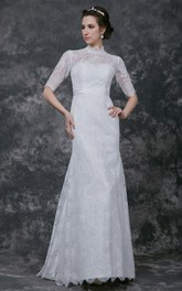 Noble Half Sleeve High Neck Form Fitted Lace Gown With Pleats