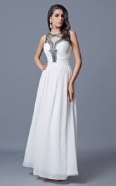 Sleeveless Pleated Long Chiffon A-line Dress