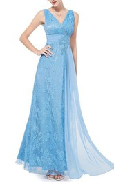 Pretty V-Neck Lace Floor-Length Prom Dress