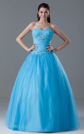 Sweetheart Jeweled Corset Back and Ball-Gown With Ruching