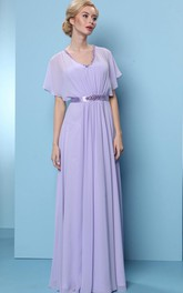 Poet Sleeve V-Neck Beaded Chiffon Bridesmaid Dress