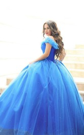 Ball Gown Floor-Length Off-The-Shoulder One-Shoulder Sweetheart Cap Zipper Tulle Lace Sequins Dress