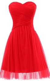 Sweetheart Basque Waist Dress With Tulle Overlay