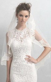 Western Style New Schiffli Lace Applique Soft Tulle Veil
