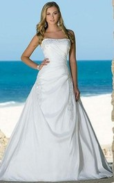 A-line Strapless Chapel Train Sleeveless Taffeta Beach Wedding Dresses for Brides