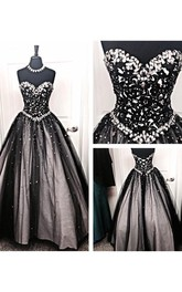 Ball Gown Long Sweetheart Sleeveless Bell Dropped Beading Lace-Up Back Tulle Lace Dress