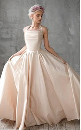 Halter Taffeta A-Line Dress With Ruching and Bow