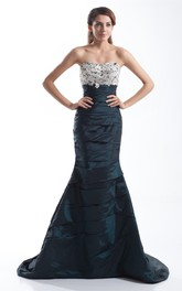 Strapless Mermaid Ruching and Gown With Lace Top
