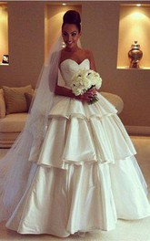 Gorgeous Sweetheart Layered 2018 Wedding Dresses Ball Gown Floor Length Bridal Gown