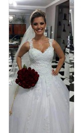 Stunning Straps Sweetheart Wedding Dresses Lace Appliques Bridal Ball Gowns
