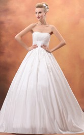Taffeta Strapless A-Line Ball Gown With Appliques