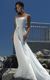 sheath Empire One Shoulder Chiffon Beach Wedding Dress